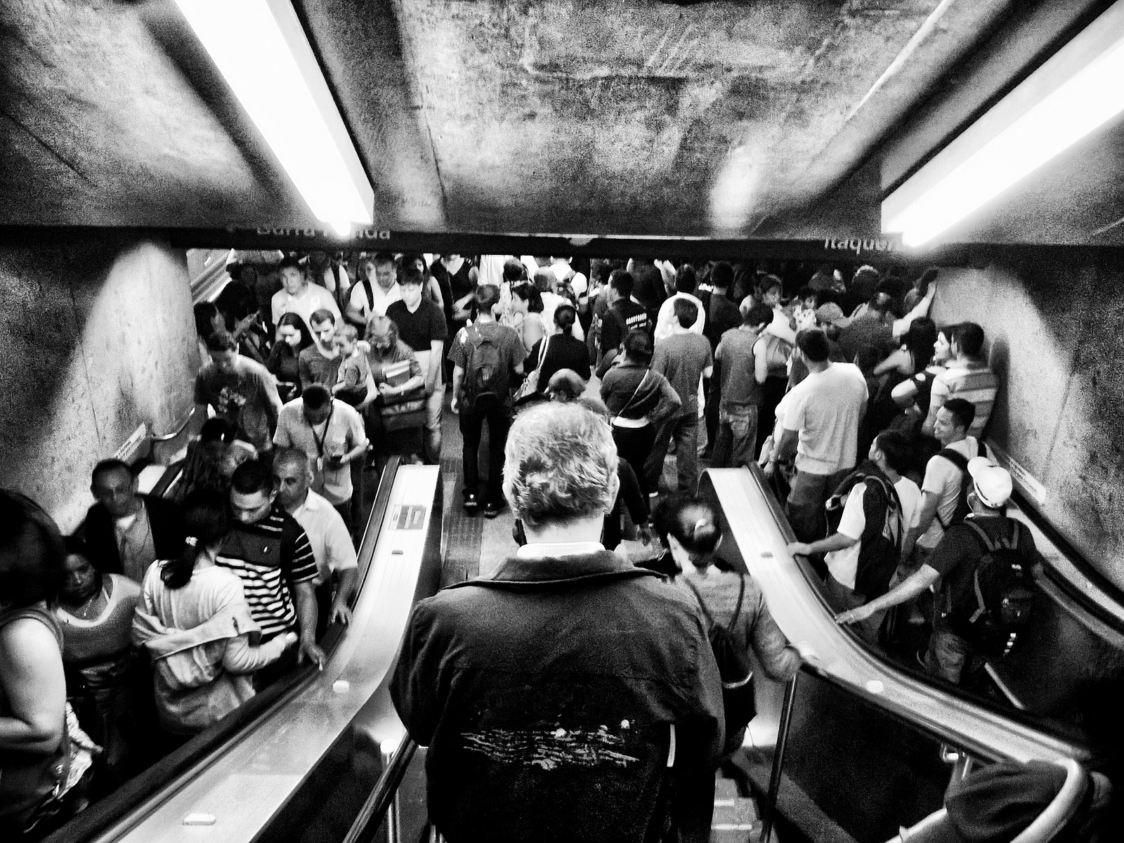 Photo of crowded staircase